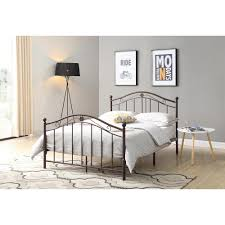 Hodedah Bronze Queen Size Metal Panel Bed with Headboard and Footboard