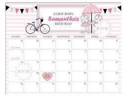 Paris Baby Shower Calendar Baby Shower Prediction Calendar Printable