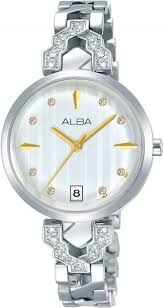 alba stainless steel dress watch for women ag8h79x silver