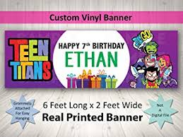 happy birthday banners personalized amazon com teen titans birthday banner personalized custom teen