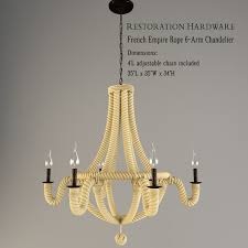 restoration hardware french empire rope 6 arm chandelier 3d model 3ds 1