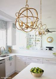 kitchens with chandeliers elegant coastal kitchen makeover the reveal
