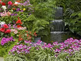 Garden & Landscape:Small Garden Idea With Colorful Flower Flower Garden  With Small Pool Idea