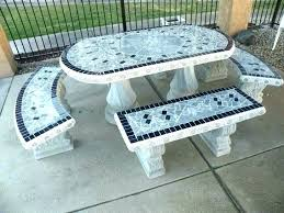 cement patio table concrete round and benches outdoor faux set furniture tables south top