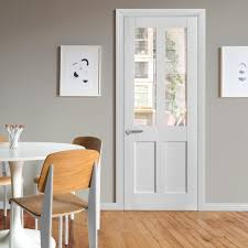 internal white primed victorian 2l door with clear glass
