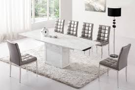White Grey Marble V Leg Dining Table And 6 Chairs