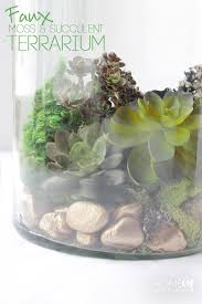 Faux Moss & Succulent Terrarium