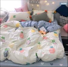 details about flower pineapple bedding set duvet quilt cover sheet pillow case four piece new