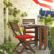Patio, Small Balcony Furniture Small Patio Set With Umbrella With Red And  White Stripes Color
