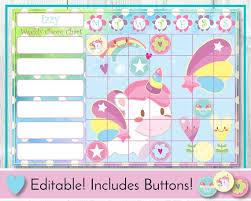 Unicorn Editable Chore Chart Reward Chart Behaviour And Responsibility Chart Fantasy Printable Chart Task Chart Toddler Routine Chart
