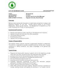 Impressive Receptionist Secretary Job Description Resume About Receptionist  Job Description Resume Sample