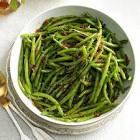 al dente green beans in  soy garlic sauce