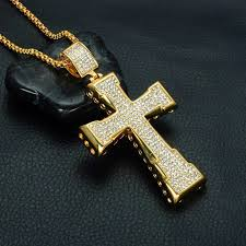 fashion cross pendant necklaces luxury 18k gold plated chains uni charms necklace full diamond cross necklaces couple gift