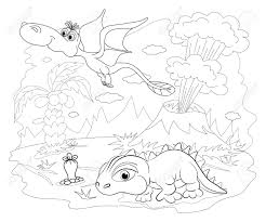 coloring book funny dinosaur in a prehistoric landscape cartoon and vector isolated character on