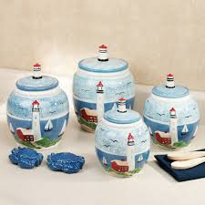 Green Canister Sets Kitchen Handpainted Lighthouse Kitchen Canister Set 8999 Kitchen