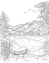 Serenity Jasper Landscape Printable Coloring Page Canoe Mountain