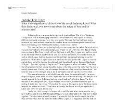 love essay enduring love essay