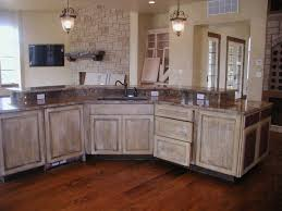 kitchen beige varnished wood kitchen cabinet with gray granite