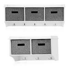 white wall mounted coat rack with shelf