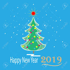 Happy New Year 2019 Card Green Spruce On Blue Background Symbol