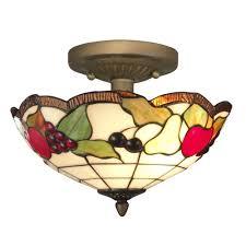 springdale lighting fruit 2 light antique brass ceiling semi flush mount light