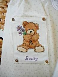 Details About Teddy Bear With Flowers Babys Name Delightful Cross Stitch Chart