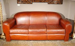 Image Raw Leather Vintage Camel Back Sofa In Supple Medium Brown Leather Becker Furniture World Overstuffed And Comfortable Leather Sofa At 1stdibs