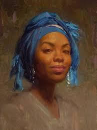andrea in blue scarf scott bur oil on canvas 2007 contemporary find this pin and more on black women art
