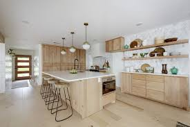 Open Kitchen With Flat Front Natural Alder Wood Cabinets Light Wood