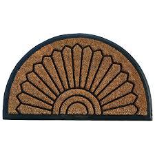 allen roth black semicircle door mat common 2 ft x 3