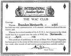 Офіційний сайт Ліги радіоаматорів України Члены ЛКК и диплом wac В 1930 г wac перешел под эгиду iaru и получил статус международного диплома Данный диплом выдаётся за радиосвязи с 6 континентами