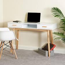 white home office desk. Hartleys-White-Retro-Home-Office-Desk-in-use. White Home Office Desk M