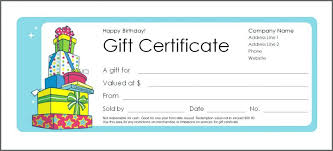 Print Gift Certificates Free Online With Birthday Customizable