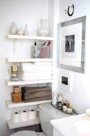 Go contemporary with oversize tiles in a rich color. Small Bathroom Best Wall Shelves Storage Ideas Apartment Therapy