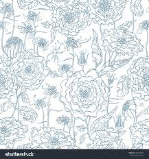 Scabiosa Floral Design Floral Seamless Pattern Scabiosa Peonies Background Stock