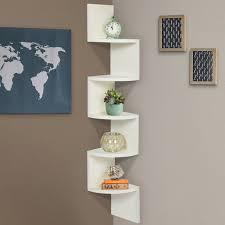 large corner wood zig zag wall shelf white finish home decor