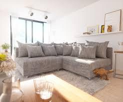 Delife Couch Clovis Modular Ecksofa Sofa Wohnlandschaft Modulsofa Hellgrau Ecksofa Rechts