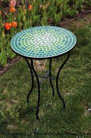 tile outdoor table. Blue And Green Tile Mosaic Outdoor Round Patio Garden Side Table