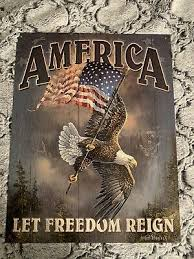 america let freedom reign metal tin
