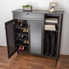 shoes cabinets furniture. Attractive Black Wooden 3 Door Shoes Storage Cabinet With 1 Drawer Design Cabinets Furniture