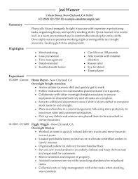 Resume Template Stocker Resume Sample Best Sample Resume Template