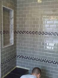 44 bathroom glass tile accent ideas leonia silver 6x24 tile for shower walls glass tile loona com