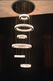 hot modern luxury crystal chandelier led round circle hanging pendant lighting