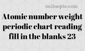 Fill In Weight Chart Atomic Number Weight Periodic Chart Reading Fill In The