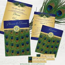 peacock invitations hindu ganesh peacock feather wedding invitation in royal blue and