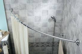 curved shower curtain rod in corner side vinyl curtains bowed moen canada