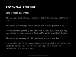 Average Vending Machine Profits Delectable Loose Cigarette Vending Machine Manufactured In South Africa Ppt
