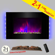 akdy 36 led wall mount electric fireplace modern space heater flat tempered gl