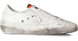 golden goose deluxe brand sneakers superstar white leather gold paint in white for men lyst
