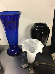 antique vintage lot to include 12 cobalt blue french empire style vase ebony china